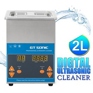 GT SONIC 2L Ultrasonic Cleaner Digital Display with Adjustable Heating Function and Timer Setting 1-99 Minutes For Cleaning Jewelry Watches Denture DVDs Rings Coins Tools & Parts and More (40KHz, 50W)